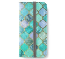 Cool Jade & Icy Mint Decorative Moroccan Tile Pattern iPhone Wallet/Case/Skin