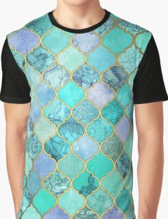 Cool Jade & Icy Mint Decorative Moroccan Tile Pattern Graphic T-Shirt