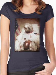 Spaceman Sloth Astronaut Women's Fitted Scoop T-Shirt