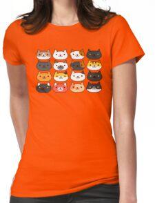 Neko Atsume Cute Pixel Cat Faces Womens Fitted T-Shirt