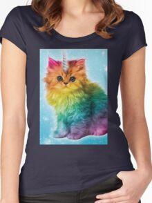 Unicorn Rainbow Cat Kitten Women's Fitted Scoop T-Shirt