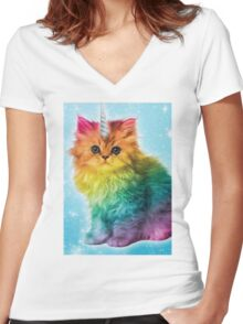 Unicorn Rainbow Cat Kitten Women's Fitted V-Neck T-Shirt