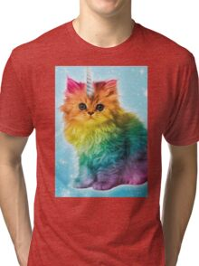 Unicorn Rainbow Cat Kitten Tri-blend T-Shirt