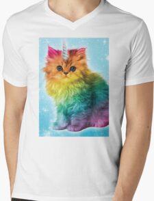 Unicorn Rainbow Cat Kitten Mens V-Neck T-Shirt