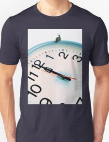 Snail on white clock face at bewitching hour T-Shirt