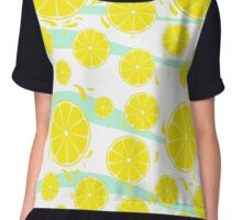 Patterns of fruit and berries. Chiffon Top