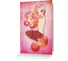 Coraleen, Mermaid in Pink Greeting Card