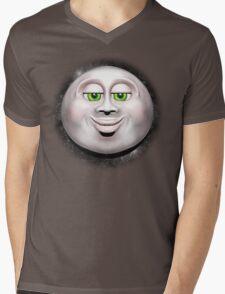 Full Moon Smiling Face 3D  Mens V-Neck T-Shirt