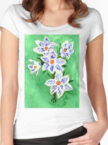 Crocus Flowers Painting Women's Fitted Scoop T-Shirt