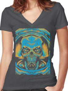 Skullstronaut Women's Fitted V-Neck T-Shirt