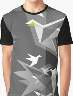 Black and White Paper Cranes Graphic T-Shirt
