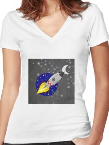 Space rocket Women's Fitted V-Neck T-Shirt