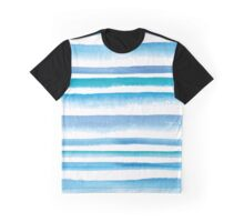 Blue watercolor stripes Graphic T-Shirt