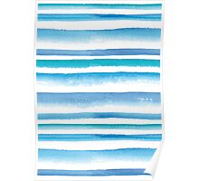 Blue watercolor stripes Poster