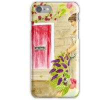 Vintage lady red pink green watercolor flowers iPhone Case/Skin