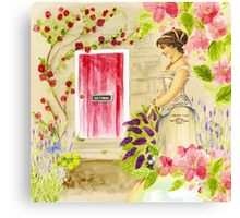 Vintage lady red pink green watercolor flowers Canvas Print