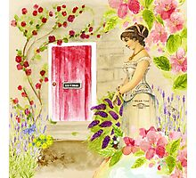 Vintage lady red pink green watercolor flowers Photographic Print