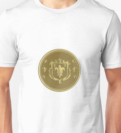 Fleur de lis Coat of Arms Gold Coin Retro Unisex T-Shirt