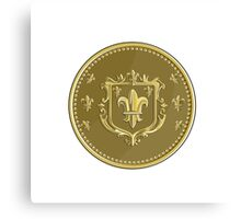 Fleur de lis Coat of Arms Gold Coin Retro Canvas Print