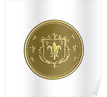 Fleur de lis Coat of Arms Gold Coin Retro Poster