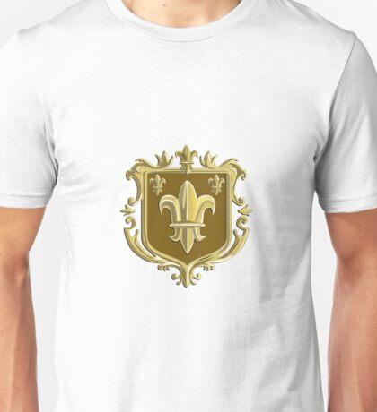 Fleur de lis Coat of Arms Gold Crest Retro Unisex T-Shirt