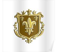 Fleur de lis Coat of Arms Gold Crest Retro Poster