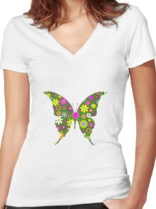 Retro butterfly Women's Fitted V-Neck T-Shirt