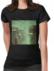 3D Illustration Futuristic City Womens Fitted T-Shirt