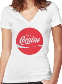 Circular Coca Coke Cola Cocaine  Women's Fitted V-Neck T-Shirt