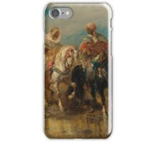 ADOLF SCHREYER  HORSEMEN AT A WATERING HOLE iPhone Case/Skin