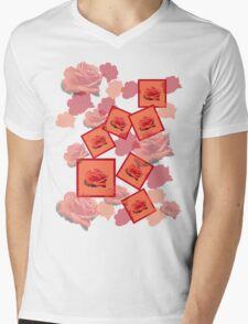 Red Rose Mens V-Neck T-Shirt