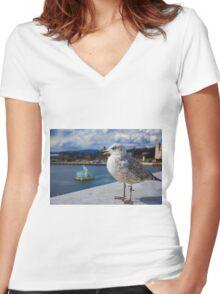 Modern Seagul Women's Fitted V-Neck T-Shirt