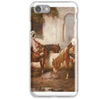 ADOLF SCHREYER  HORSEMEN AT A WATERING HOLE,  iPhone Case/Skin
