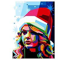 Taylor Swift Santa Hat Photographic Print