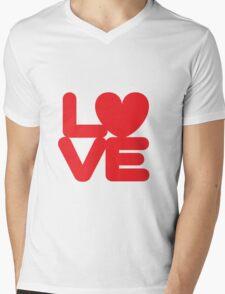 LOVE (01 - Red on White) Mens V-Neck T-Shirt