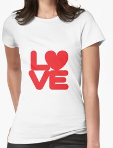 LOVE (01 - Red on White) Womens Fitted T-Shirt