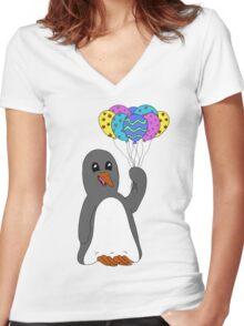 Celebration Penguin Women's Fitted V-Neck T-Shirt