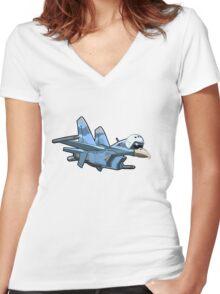Cartoon Jetbird Women's Fitted V-Neck T-Shirt