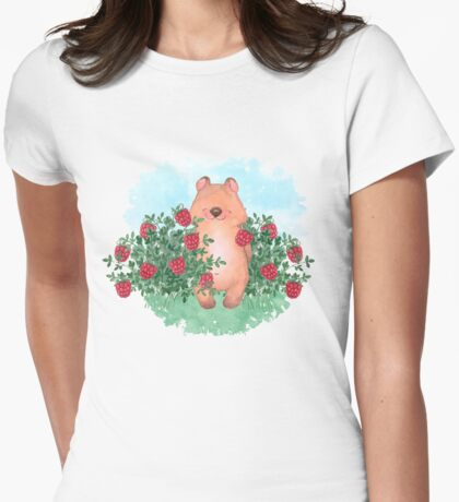 Bear and raspberry Womens Fitted T-Shirt
