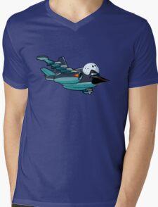 Cartoon Jetbird Mens V-Neck T-Shirt