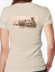 STEAM, TRAIN, Central Pacific, Railroad, American, America, Locomotive, Iron Horse Womens Fitted T-Shirt