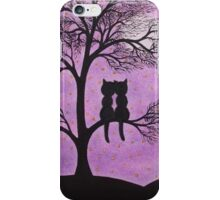 Cats in Tree: Two Cats, Romantic Cats Silhouette, Cat Moon Stars iPhone Case/Skin