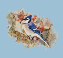 Bluejay Watercolor Bird Art One Piece - Short Sleeve