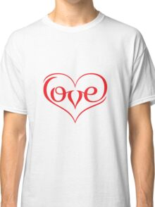 Love (02 - Red on White) Classic T-Shirt