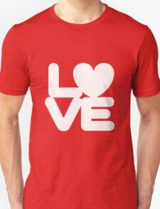 LOVE (01 - White on Red) Unisex T-Shirt