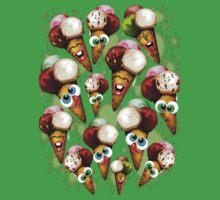Ice Cream Cones Cartoon Pattern One Piece - Short Sleeve