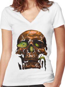 Skull 09 Women's Fitted V-Neck T-Shirt