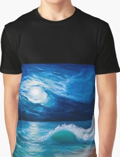 Moonlight sea landscape Graphic T-Shirt