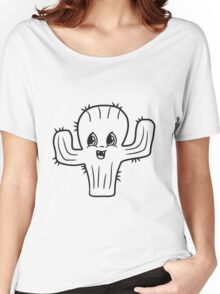 sweet cute little cactus face comic cartoon baby child Women's Relaxed Fit T-Shirt