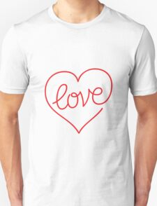 Love (03 - Red on White) Unisex T-Shirt